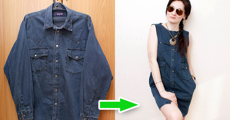 Как из джинс сшить рубашку 35